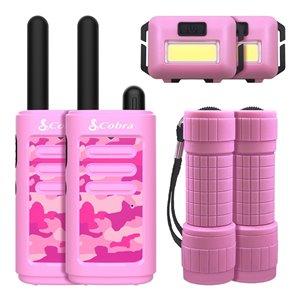 Émetteurs-récepteurs Cobra Kids avec lampe frontale et lampe de poche, rose, 6 mcx