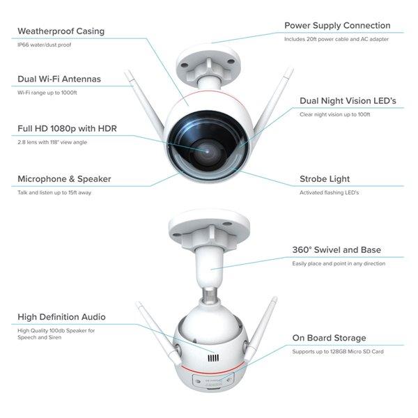 Caméra de sécurité EZVIZ ezGuard 1080p sans fil Wi-Fi