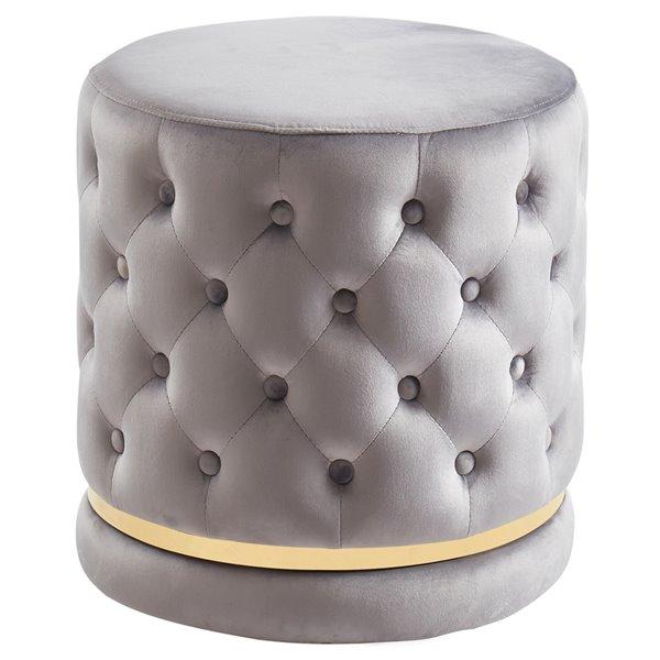 !nspire Modern Round Swivel Ottoman - 18-in - Grey Velvet