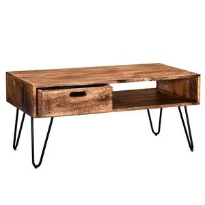 Table de salon !nspire de style rustique, structure noire et dessus de table en bois naturel