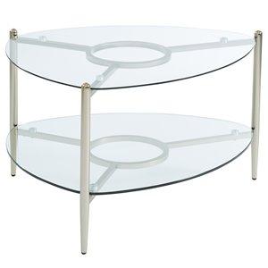 Table de salon !nspire de style moderne, structure champagne doré et dessus en verre