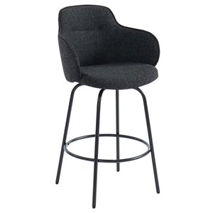 !nspire Modern Upholstered Counter Stool - Charcoal Grey - Set of 2