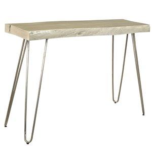 Table console !nspire rustique moderne, 14 po x 30 po, nickel antique/bois d'acacia gris pâle