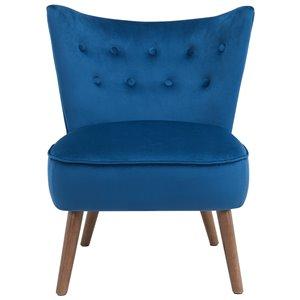 Chaise d'appoint de style mi-siècle WHI, velours bleu royal