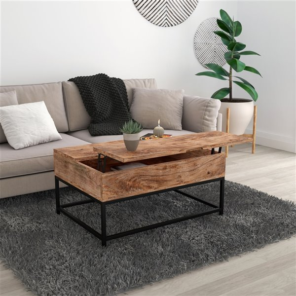 !nspire Mid-Century Coffee Table - Black Frame Finish and Natural Wood Table Top Finish