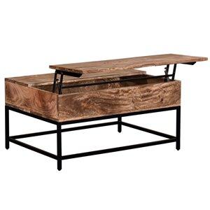 Table de salon !nspire de style mi-siècle, structure noire et dessus de table en bois naturel