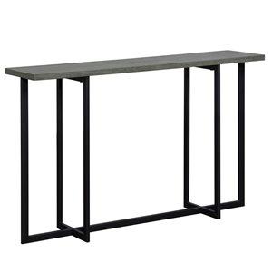 Table console moderne WHI, 11,75 po x 30 po, métal noir et placage de bois gris