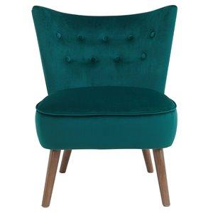 Chaise d'appoint de style mi-siècle WHI, velours vert forêt
