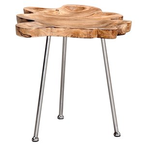 Table d'appoint !nspire de style moderne rustique, bois de manguier naturel