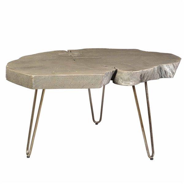 Table de salon !nspire de style mi-siècle, structure nickel antique et dessus de table gris