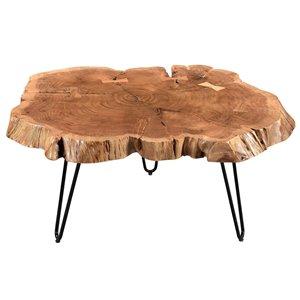 Table de salon !nspire de style mi-siècle, structure en métal noir et dessus de table en bois naturel
