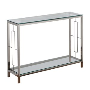 Table console !nspire contemporaine à 2 tablettes, 12 po x 30 po, verre et métal