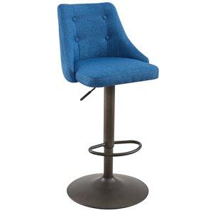 Tabouret de comptoir rembourré WHI de style moderne, hauteur ajustable, bleu, ens. de 2