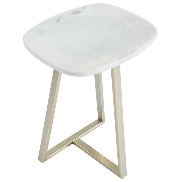 Table d'appoint carrée contemporaine !nspire, dessus de table blanc