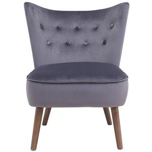Chaise d'appoint de style mi-siècle WHI, velours gris