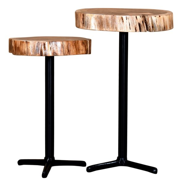 Table d'accent !nspire, bois d'acacia et métal noir, ens. de 2