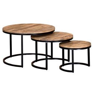 Table de salon !nspire, bois de manguier et métal noir, ens. de 3