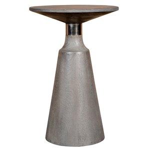 Table d'appoint ronde !nspire de style moderne rustique, bois de manguier gris pâle