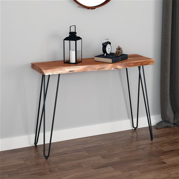 !nspire Modern Rustic Console Table - 14-in x 30-in - Black Metal/Natural Acacia Wood