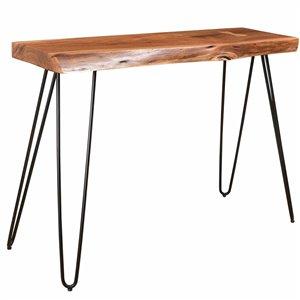 Table console !nspire rustique moderne, 14 po x 30 po, métal noir/bois d'acacia naturel