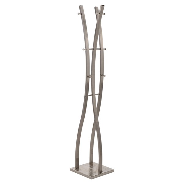 !nspire Contemporary Coat Stand - 12-Hook - 71-in - Brushed Nickel