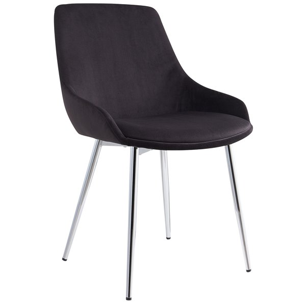 !nspire Mid-Century Dining Chair - Chrome and Black - Set of 2
