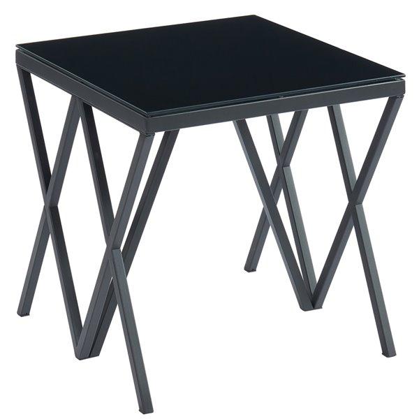 Table d'appoint carrée contemporaine !nspire, dessus de table en verre noir