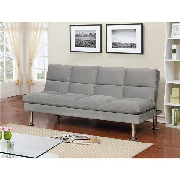 Sofa-lit WHI de style moderne, 67 po, polyester gris