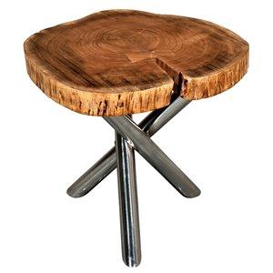 Table d'appoint ronde !nspire de style industriel rustique, bois naturel d'acacia