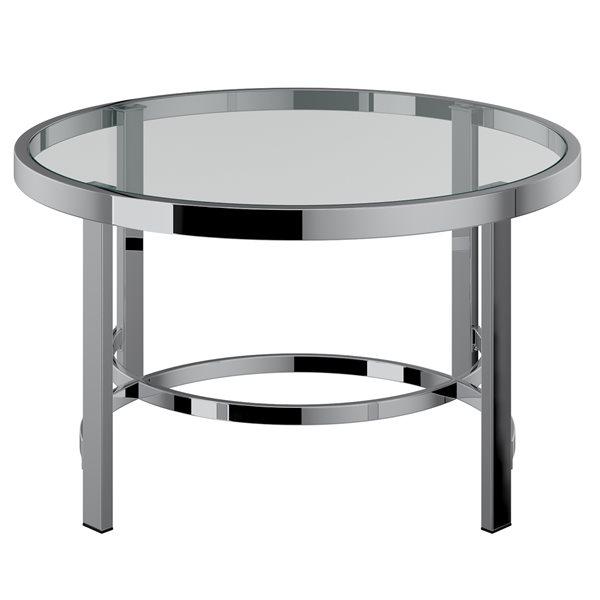Table de salon !nspire de style moderne, structure chromée et dessus de table en verre