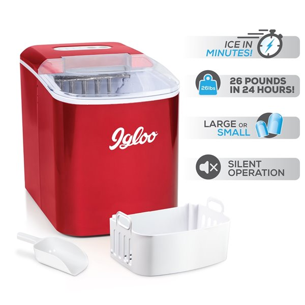 Igloo 26-Pound Automatic Portable Countertop Ice Maker - Retro Red