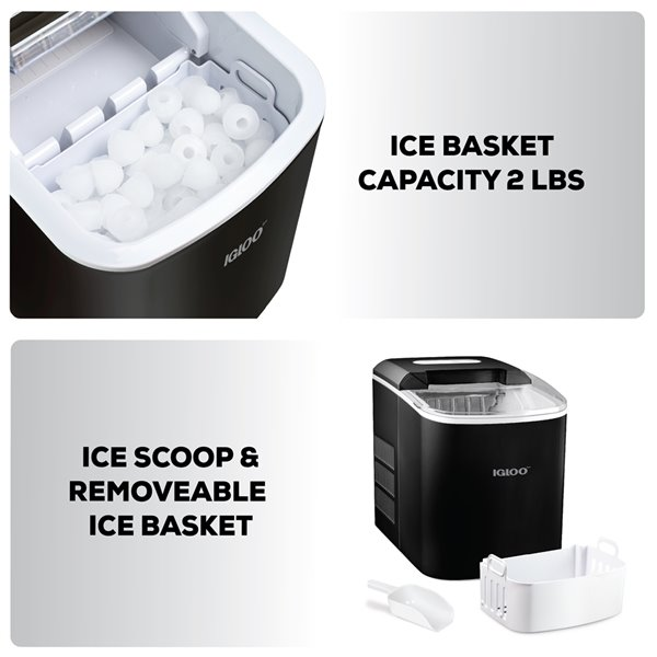 Igloo 26-Pound Automatic Portable Countertop Ice Maker Machine - Black