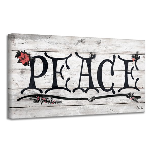 Ready2HangArt 'Peace' Holiday Canvas Wall Art - 12-in x 24-in