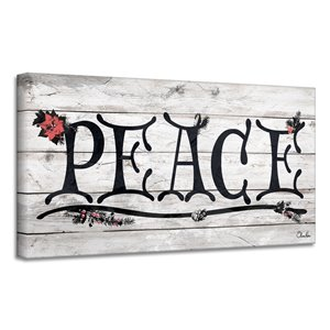 Décroation murale 'Peace' de Ready2HangArt, 12 po x 24 po