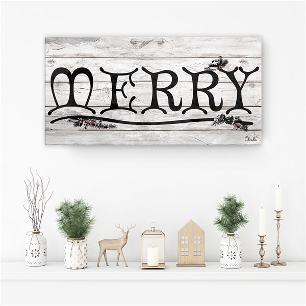 Ready2HangArt 'Merry' Holiday Canvas Wall Art - 12-in x 24-in