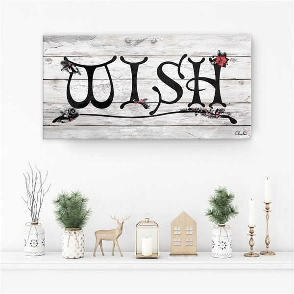 Ready2HangArt 'Wish' Holiday Canvas Wall Art - 8-in x 16-in