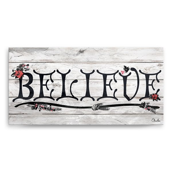 Ready2HangArt 'Believe' III Holiday Canvas Wall Art - 8-in x 16-in
