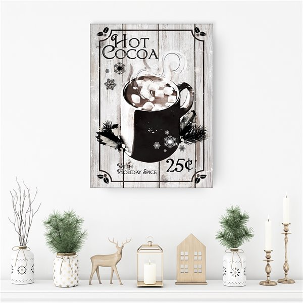 Ready2HangArt 'Hot Cocoa' Holiday Canvas Wall Art - 30-in x 20-in