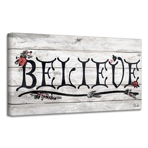 Ready2HangArt 'Believe' III Holiday Canvas Wall Art - 12-in x 24-in