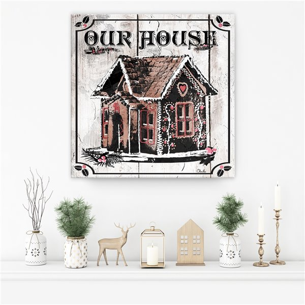 Décroation murale 'Gingerbread House' de Ready2HangArt, 12 po x 12 po