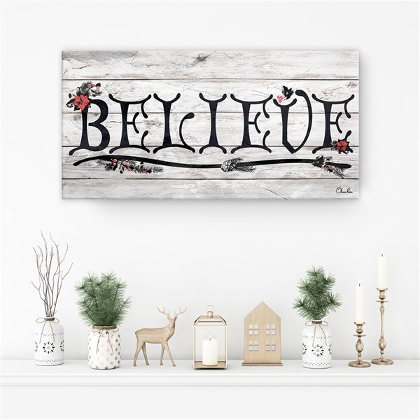 Ready2HangArt 'Believe' III Holiday Canvas Wall Art - 18-in x 36-in
