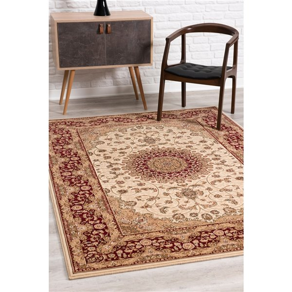 Rug Branch Majestic Vintage Rectangular Area Rug - Machine-Made - 8-ft x 11-ft - Cream and Burgundy