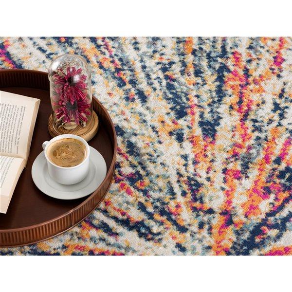 Tapis décoratif Savannah Rug Branch de style mi-siècle moderne, fait à la machine, 4 pi x 6 pi, multicolore