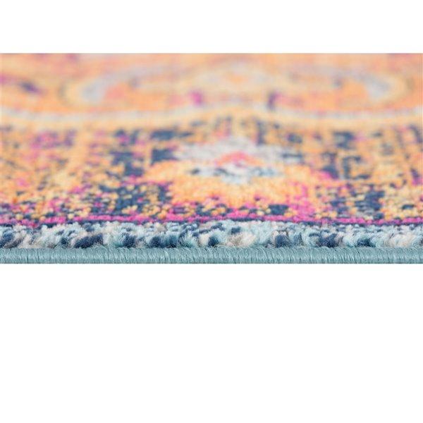 Tapis décoratif rectangulaire Savannah Rug Branch de style rétro, fait à la machine, 4 pi x 6 pi, orange et brun