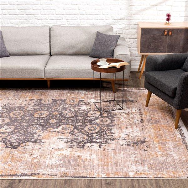 Tapis décoratif rectangulaire Amalfi Rug Branch de style rétro, fait à la machine, 10 pi x 13 pi, gris et beige