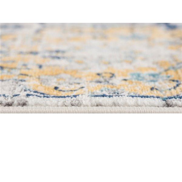 Tapis décoratif rectangulaire Savannah Rug Branch de style mi-siècle moderne, fait à la machine, 4 pi x 6 pi, bleu