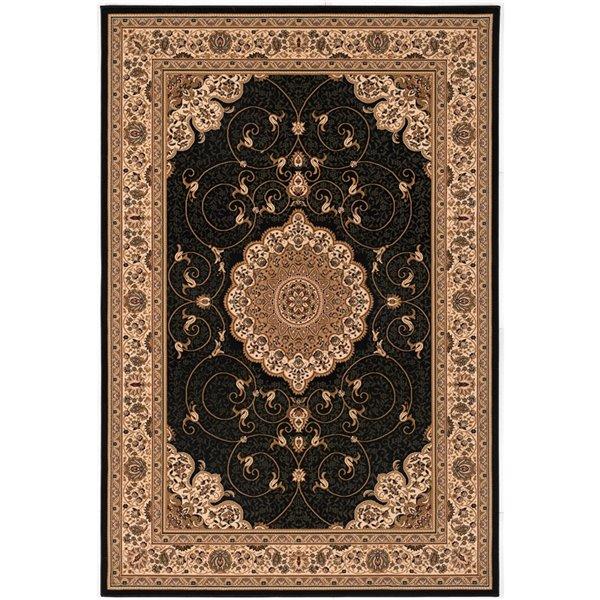 Tapis décoratif rectangulaire Majestic Rug Branch de style rétro, fait à la machine, 8 pi x 11 pi, noir et crème