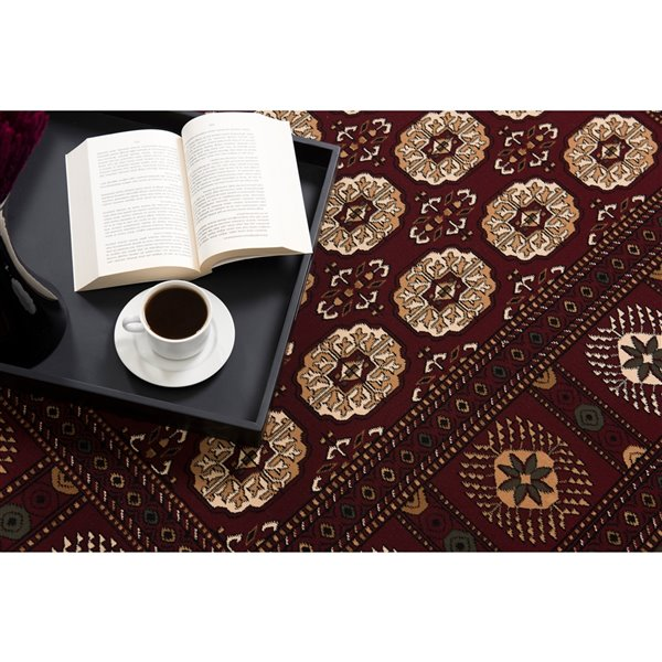 Rug Branch Majestic Vintage Rectangular Area Rug - Machine-Made - 7-ft x 10-ft - Dark Red and Cream
