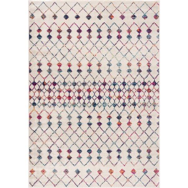 Tapis décoratif rectangulaire Savannah Rug Branch de style mi-siècle moderne, fait à la machine, 9 pi x 12 pi, crème