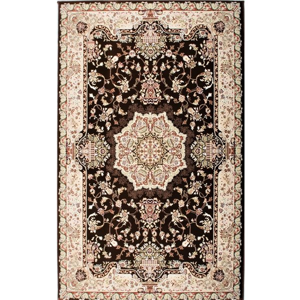 Rug Branch Majestic Vintage Rectangular Area Rug - Machine-Made - 4-ft x 6-ft - Cream and Brown